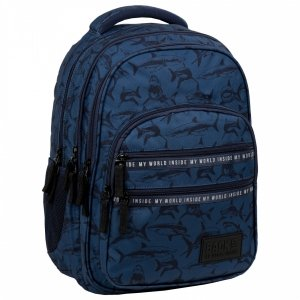 Plecak szkolny młodzieżowy BackUP 28 L REKINY (PLB3M50)