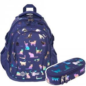 ZESTAW 2 el. Plecak szkolny młodzieżowy ST.RIGHT kotki, HOLO CATS BP1 (39364SET2CZ)