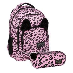 ZESTAW 2 el. Plecak szkolny młodzieżowy BackUP 26 L PANTERKA z uszami (PLB3YA17SET3CZ)