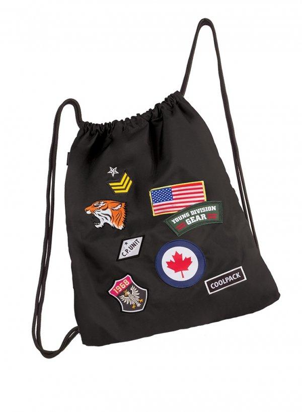 Worek na obuwie, sportowy COOLPACK SPRINT czarny w znaczki, BADGES BLACK (90773)