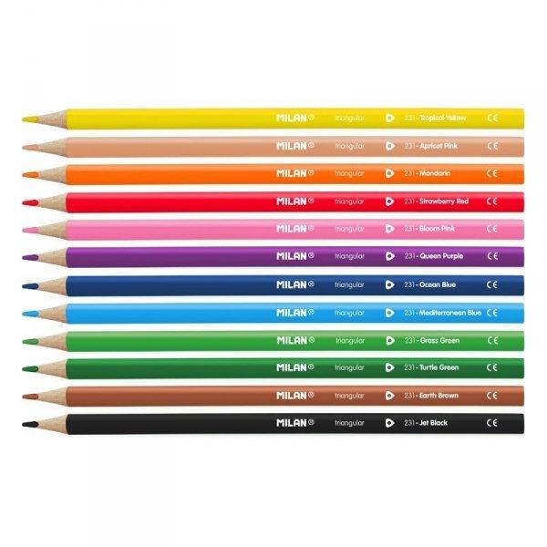 Kredki ołówkowe MILAN 12 kolorów trójkątne (0728312)