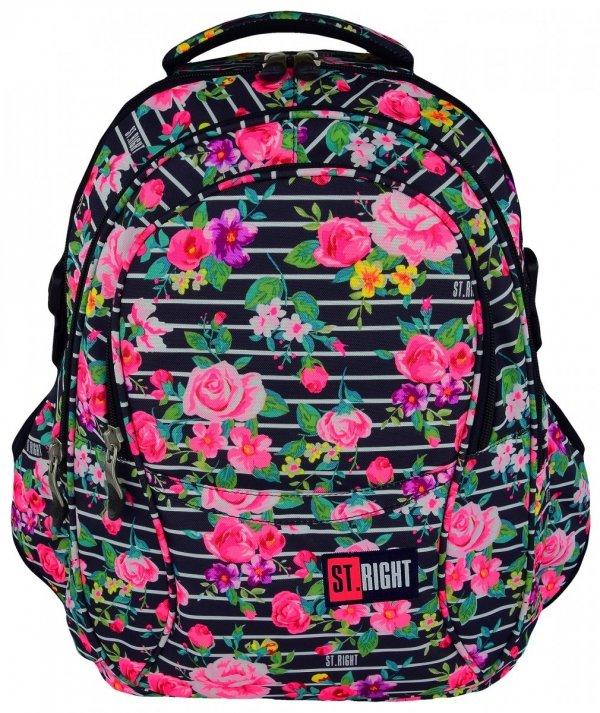 Plecak szkolny młodzieżowy ST.RIGHT granatowy w pastelowe róże, LIGHT ROSES BP1 (18475)