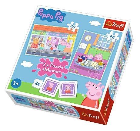 Puzzle 2w1 + memo Trefl, Świnka Peppa, Dzień Peppy (90600)