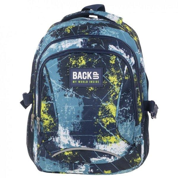 Plecak szkolny młodzieżowy Back UP niebieskie wzory BLUE COMBINATION (PLB1F45)