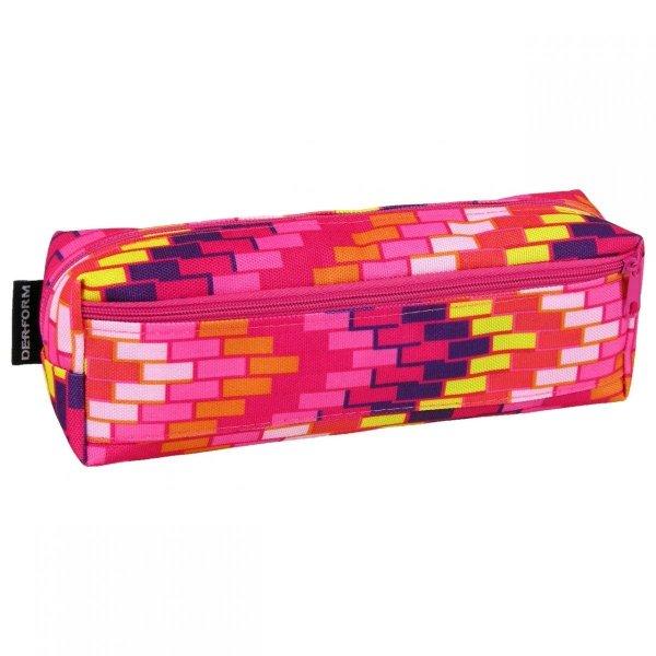Piórnik dwukomorowy w kolorowe prostokąty (PA19)