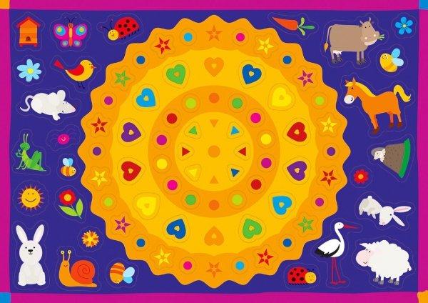 Kolorowanka z naklejkami ZAGADKI ŁĄK I PÓL 3+ (43317)