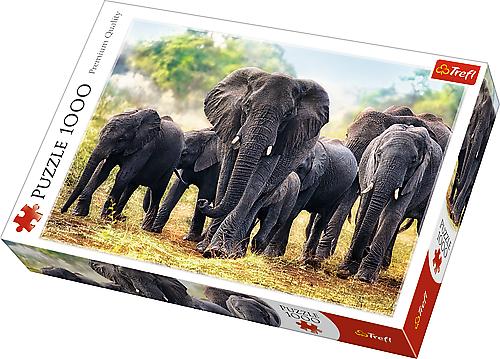TREFL Puzzle 1000 el. Afrykańskie słonie (10442)