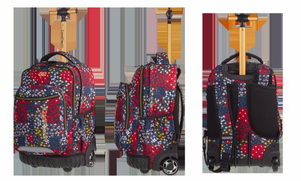 Plecak CoolPack SWIFT  na kółkach kolorowe kwiatki na granatowym tle, SUMMER MEADOW + gratis (85769CP)