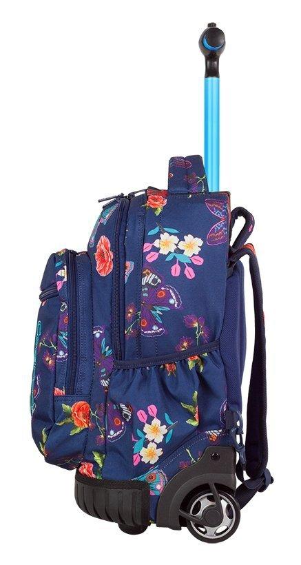 Plecak CoolPack SWIFT  na kółkach niebieski w kwiaty i motyle, SUMMER DREAM + gratis (86032CP)