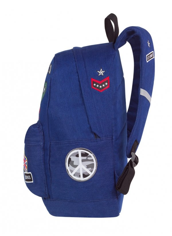 Plecak szkolny młodzieżowy COOLPACK CROSS niebieski w znaczki, BADGES NAVY (89630CP)