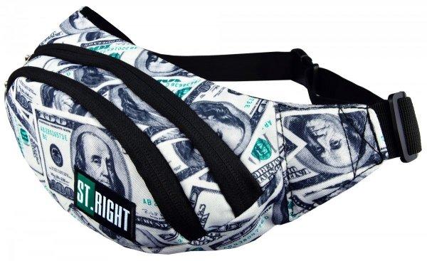 Saszetka na pas torba nerka, czarna w dolary, DOLLARS WB2 (17232)