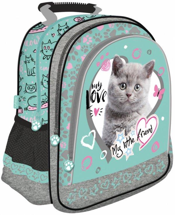 Plecak szkolny St. Majewski My Little Friend CAT MINT, Kotek w turkusie (04869)