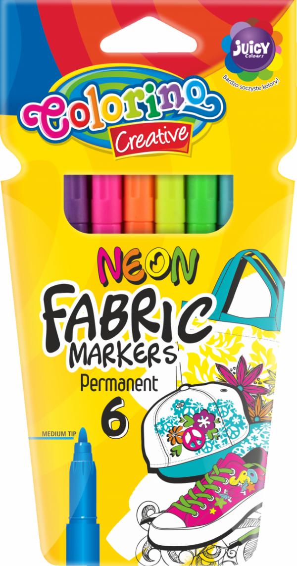 Pisaki T-Shirt do tkanin NEON FABRIC MARKERS PERMANENT 6 kolorów COLORINO (80071PTR)