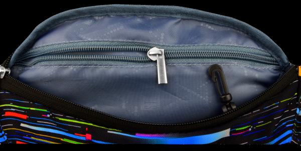 Saszetka na pas torba nerka, czarna w kolorowe pasy, BETA SPRIPES WB2 (17973)