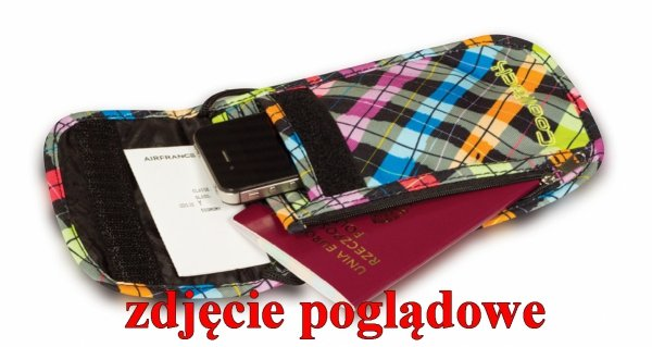 Portfel saszetka na szyję CoolPack TOURIST niebiesko - czerwone wzory, UNDERGROUND 841 (75732)