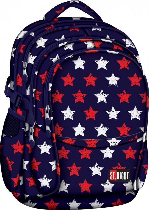 Plecak szkolny młodzieżowy ST.RIGHT granatowy w gwiazdki, STARS BP1 (17539)
