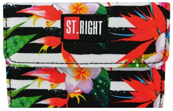 Portfel ST.RIGHT biały w pasy i kwiaty, TROPICAL STRIPES NW-02 (18468)