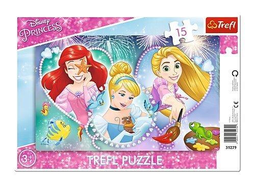 TREFL Puzzle Ramkowe 15 el. KSIĘŻNICZKI Trzy uśmiechnięte księżniczki (31279)