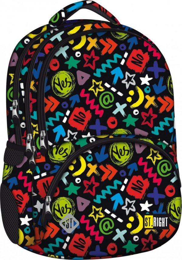 ZESTAW 2 el. Plecak szkolny młodzieżowy ST.RIGHT czarny w kolorowe symbole graficzne, YES OR NO BP07 (12848)