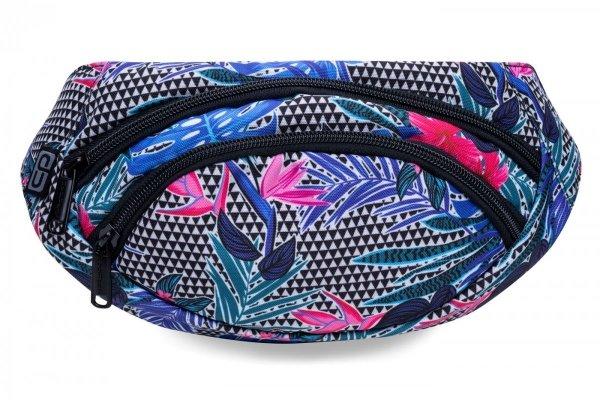 SASZETKA NERKA CoolPack na pas torba ALBANY w kolorowe kwiaty, ALOHA BLUE (B75048)