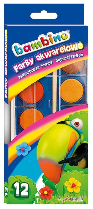 Farby akwarelowe wodne 12 kolorów BAMBINO (01857)