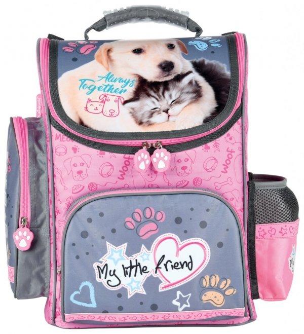ZESTAW 3 el. Tornister szkolny My Little Friend CAT & DOG Kotek i piesek (28481SET3CZ)