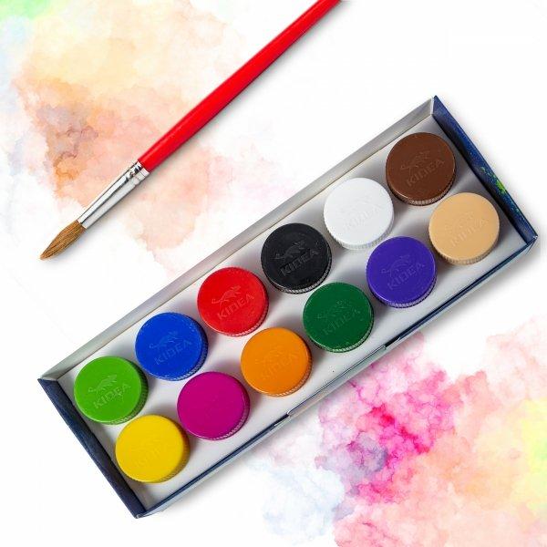 Farby plakatowe 12 kolorów KIDEA (FP12KKA)