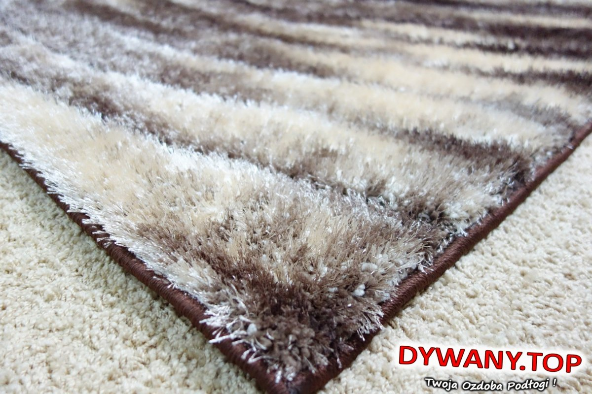 SEHER 3D BROWN VISION brązowo beżowy Shaggy • Dywany.TOP