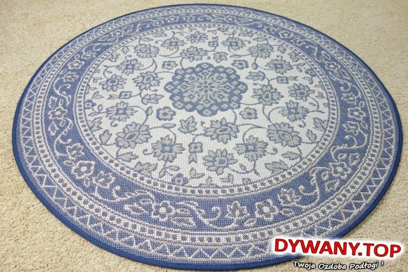 ESSENZA FLATWEAVE niebieskie okrąg 120