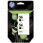 Zestaw dwóch tuszy HP 56 do Deskjet 450/5550, PSC 1215/2210 | 2 x 19ml | black