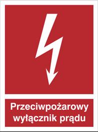 Znak Przeciwpożarowy wyłącznik prądu 219 P.F. 150X200 M