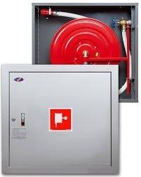Hydrant wewnętrzny z miejscem na gaśnice pod spodem z wężem półsztywnym 25/30+G zawieszany biały wertikalny