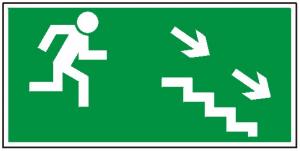 Kierunek do wyjścia drogi ewakuacyjnej schodami w dół na prawo 106 (P.F.)