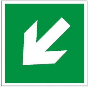 Znak kierunek drogi ewakuacyjnej 113 (P.F.) 150x150