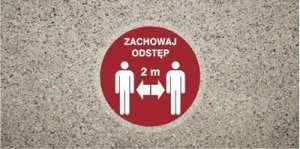 STOP Znak antypoślizgowy zachowaj odległość 2,0 m samoprzylepny