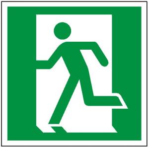 Znak drzwi ewakuacyjne lewe 109 (P.F.) 150X150
