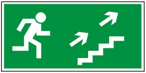 Kierunek do wyjścia drogi ewakuacyjnej schodami w górę na prawo 108 (P.F.)