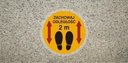 Znak antypoślizgowy zachowaj odległość 2 m samoprzylepny