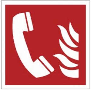 Znak telefon alarmowania pożarowego F06 (FF) 150x150
