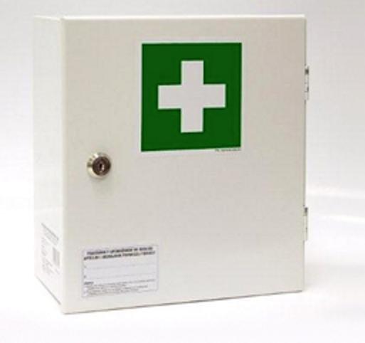 """Stalowa apteczka ścienna """"30"""" z wyposażeniem DIN 13157 + aparat do sztucznego oddychania."""