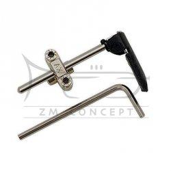 ALEXANDER podpórka pod rękę - flipper (montażowa) do waltorni regulowana, nikolowana, komplet z kluczem imbusowym i skórzaną osłonką