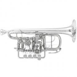 J. SCHERZER trąbka piccolo Bb/A 8111ST-2-0, posrebrzana, czara i rurki ustn. sterling silver, z futerałem