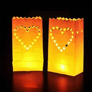 Nastrojowe lampiony z sercem 5szt z niepalnego papieru na świeczkę-podgrzewacz