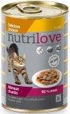 Nutrilove Premium Mięsne kawałki bogate w kurczaka w pysznej galaretce dla kota 12x400g