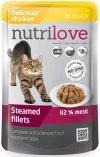 Nutrilove Premium Gotowane na parze delikatne fileciki z kurczakiem w sosie dla kota 28x85g