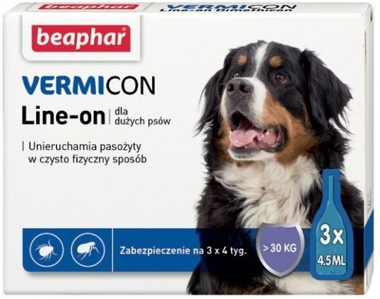 Beaphar Vermicon Line-On Dog L - krople przeciwko ektopasożytom dla dużych psów 3x4,5ml