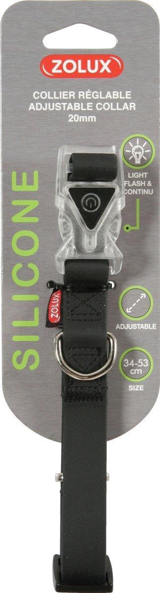 Zolux Obroża silikonowa świecąca - regulowana czarna 34-53cm/20mm