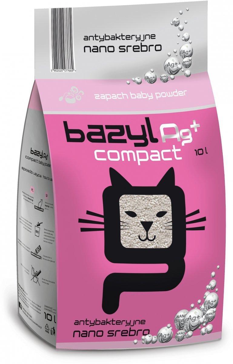 Bazyl Ag+ Compact Baby Powder - drobny żwirek o zapachu pudru z nanosrebrem 10l
