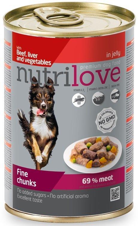 Nutrilove Dog Premium Z soczystą wołowiną, wątróbką i warzywami w pysznej galaretce 12x415g