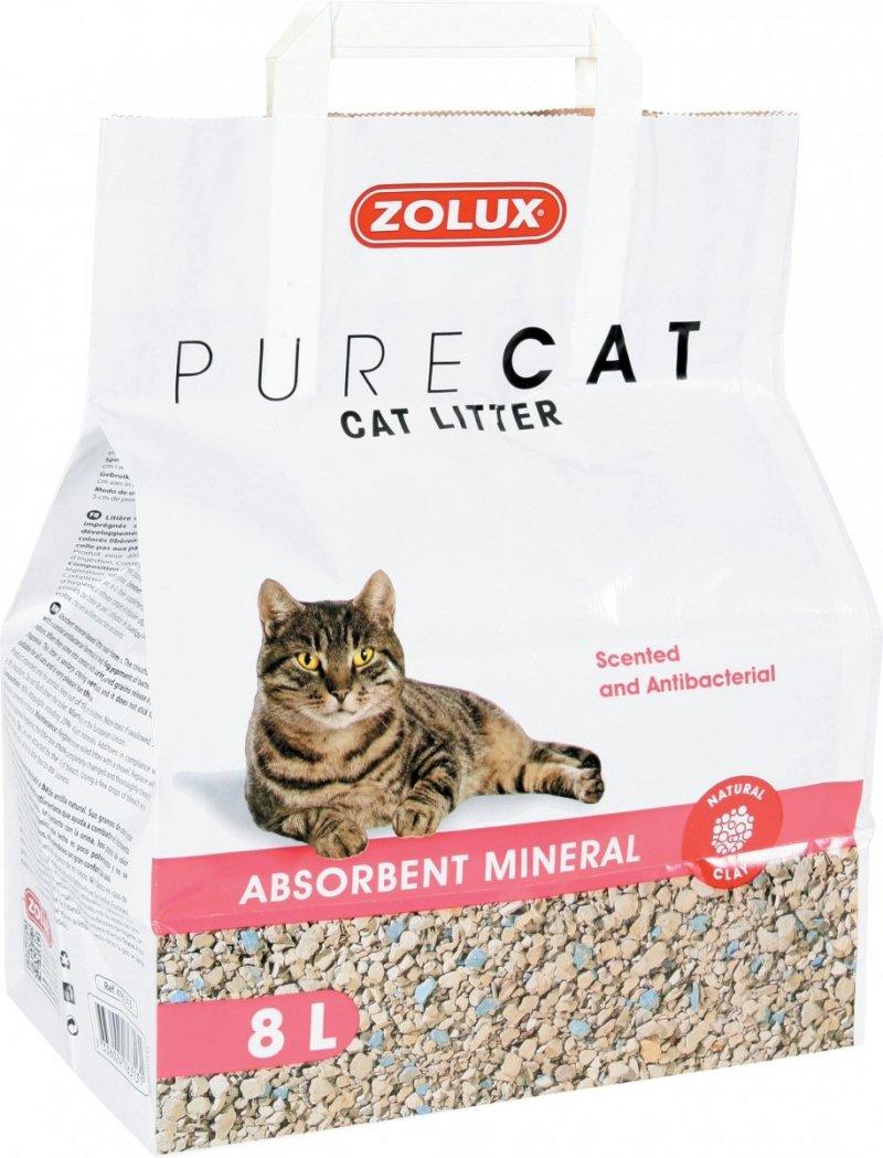 Zolux Pure Cat - Żwirek mineralny dla kota - nezbrylający, perfumowany 8l x 4 szt